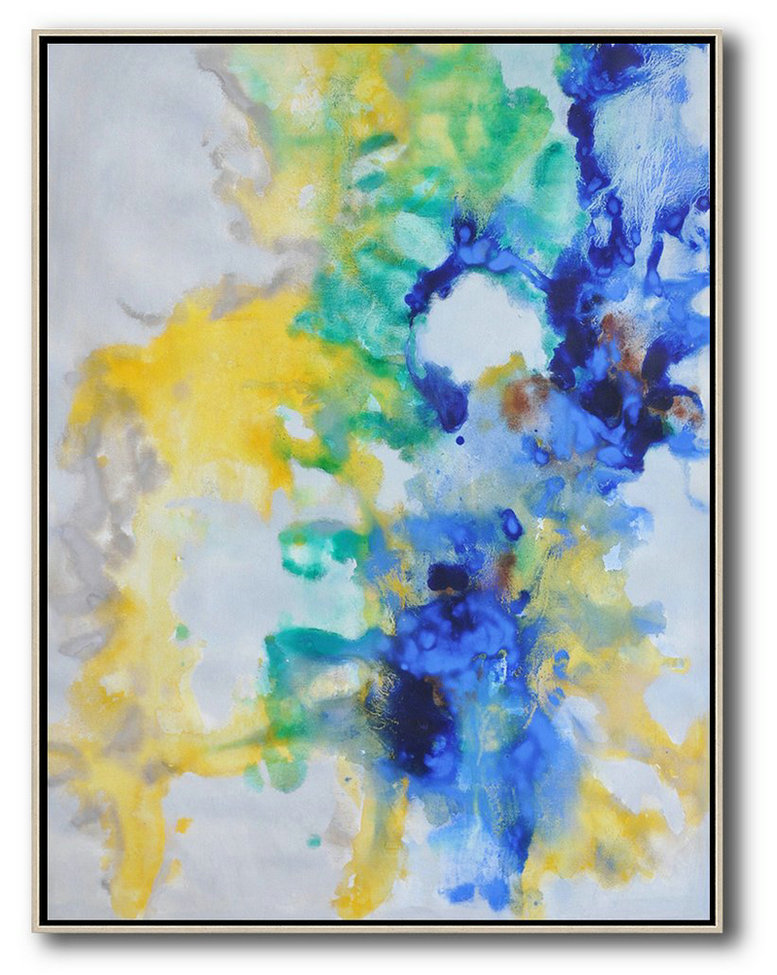Abstract Painting Extra Large Canvas Art,Oversized Abstract Landscape Painting,Oversized Custom Canvas Art,Grey,Yellow,Green,Blue.etc