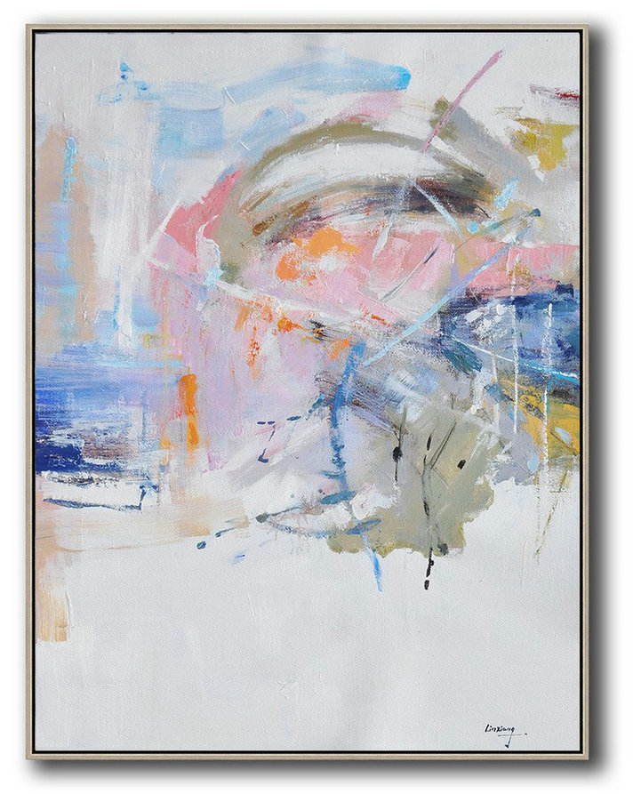 Oversized Canvas Art On Canvas,Oversized Abstract Landscape Painting,Hand Painted Abstract Art,White,Pink,Blue,Grey.etc