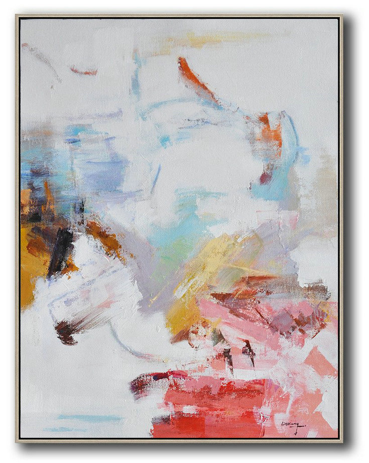 Extra Large Textured Painting On Canvas,Oversized Abstract Landscape Painting,Hand Made Original Art,Grey,Pink,Red,White.etc
