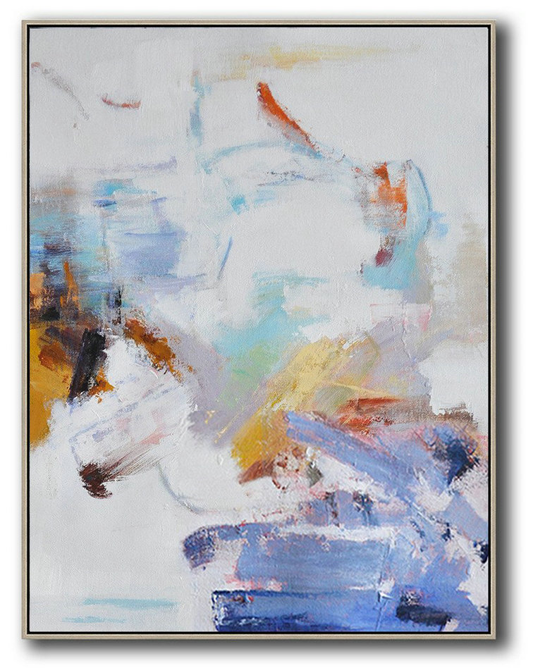 Huge Abstract Painting On Canvas,Oversized Abstract Landscape Painting,Acrylic Painting Large Wall Art,Grey,White,Blue,Yellow.etc