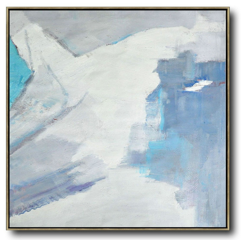 Extra Large Canvas Art,Oversized Contemporary Art,Pop Art Canvas,Sky Blue,White,Grey.Etc