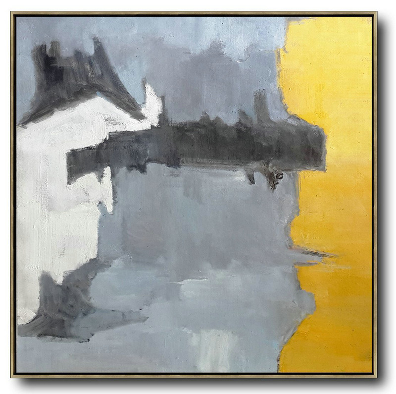 Hand Made Abstract Art,Oversized Contemporary Art,Canvas Wall Art Home Decor,Yellow,Grey,White,Black.Etc