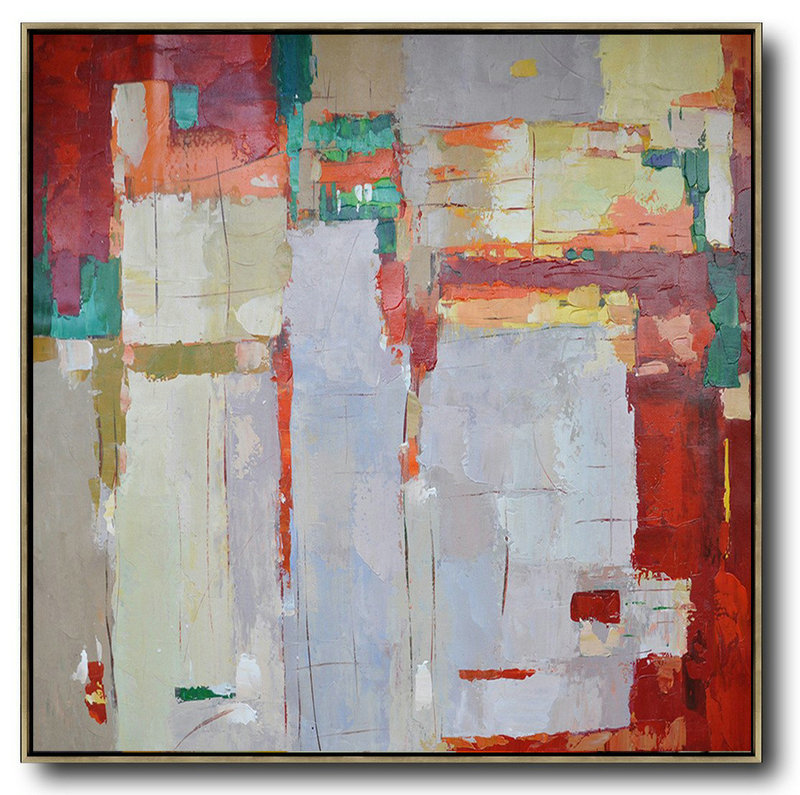 Large Abstract Painting Canvas Art,Oversized Contemporary Art,Modern Art Oil Painting,Red,Orange,Purple,Green,Yellow.Etc