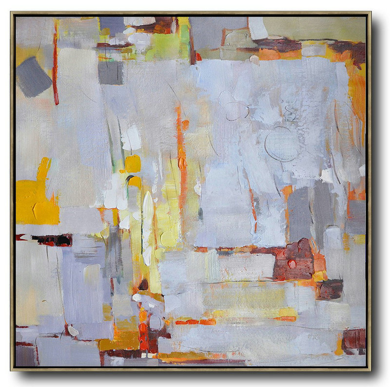 Large Abstract Painting,Oversized Contemporary Art,Hand-Painted Contemporary Art,Violet Ash,Yellow,Red,Orange.Etc