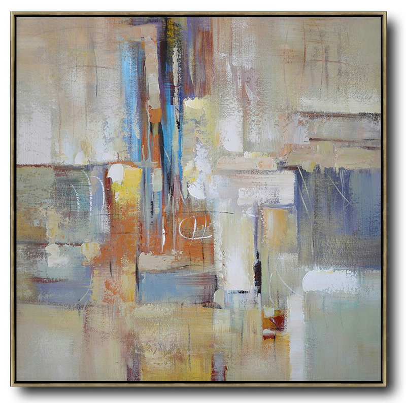 Large Abstract Art Handmade Oil Painting,Oversized Contemporary Art,Modern Art Abstract Painting,Taupe,Blue,White,Orange,Yellow.Etc