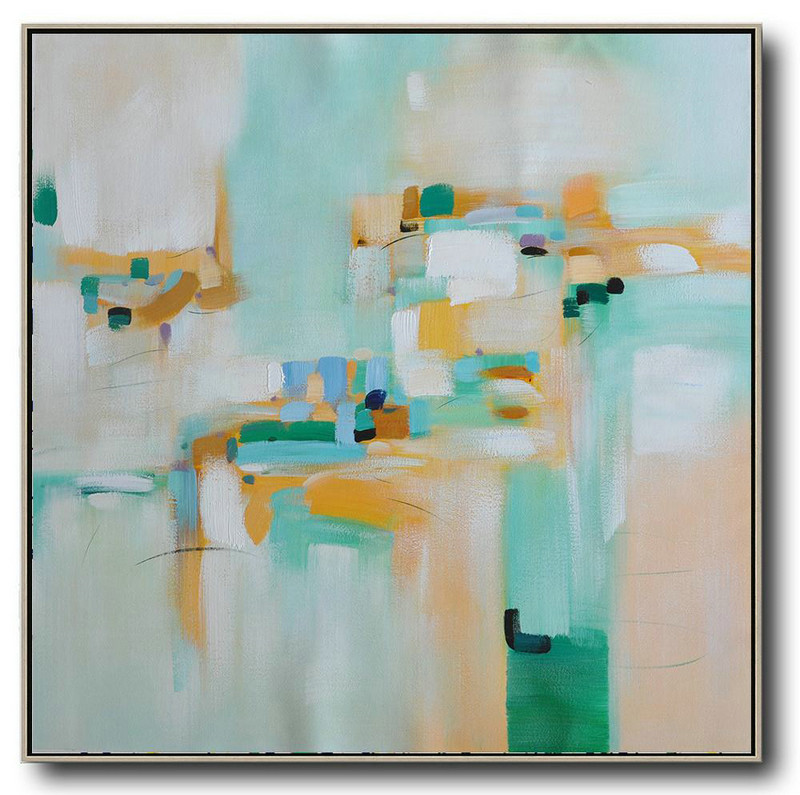 Extra Large Acrylic Painting On Canvas,Oversized Contemporary Art,Pretty Abstract Paintings,Green,Yellow,Blue,White.Etc