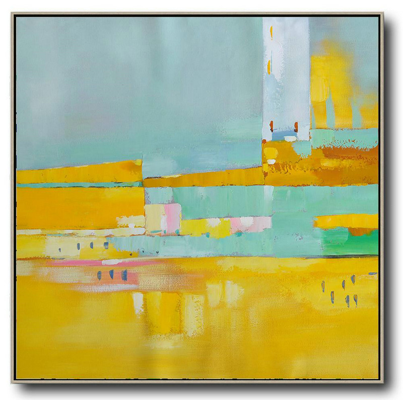 Large Abstract Painting On Canvas,Oversized Contemporary Art,Hand Painted Canvas Art,Yellow,Sky Blue,Pink,White.Etc