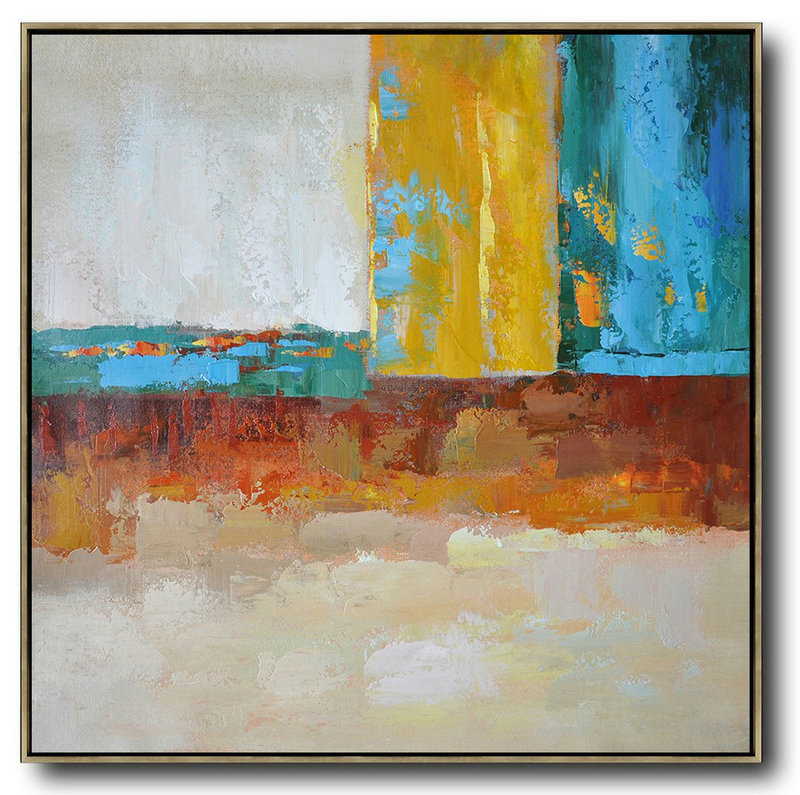 Huge Abstract Painting On Canvas,Oversized Contemporary Art,Giant Wall Decor,Blue,Yellow,Orange,Dark Green.Etc