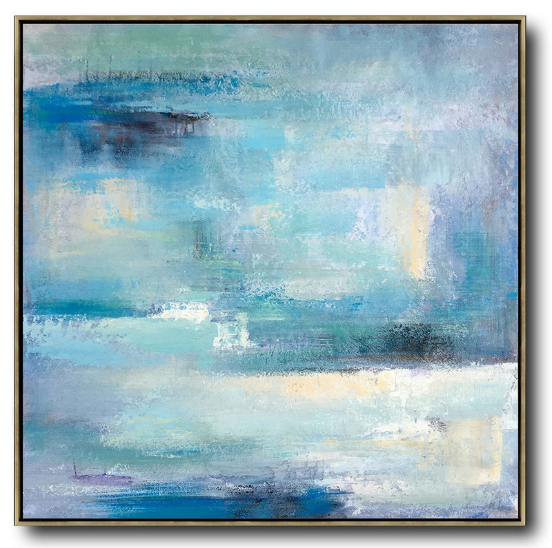 Huge Abstract Painting On Canvas,Oversized Contemporary Art,Hand Painted Original Art,Sky Blue,Violet,White,Nude.Etc