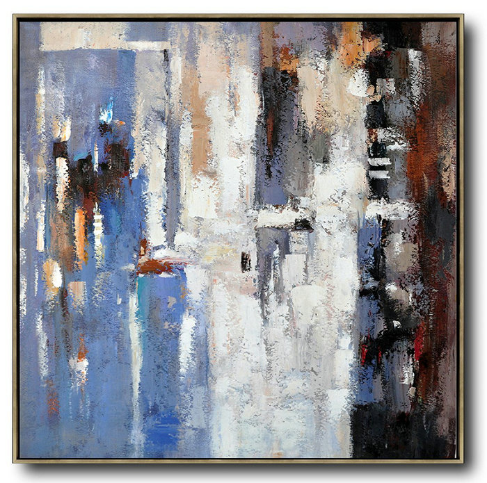 Original Painting Hand Made Large Abstract Art,Oversized Contemporary Art,Abstract Art Decor Large Canvas Painting,Blue,White,Brown,Red.Etc