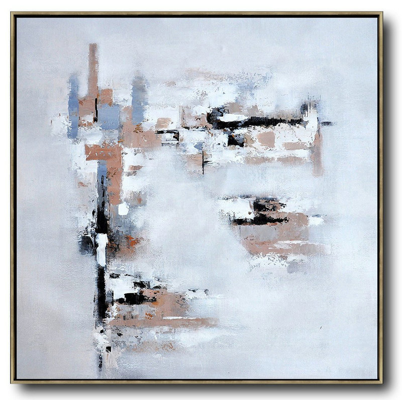 Large Abstract Painting On Canvas,Oversized Contemporary Art,Acrylic Painting Wall Art,Taupe,Grey,White,Black.Etc