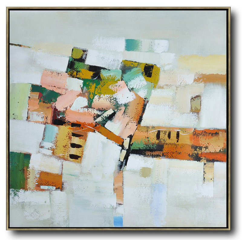 Handmade Extra Large Contemporary Painting,Oversized Contemporary Art,Large Oil Canvas Art,Grey,Orange,Green,Yellow.Etc