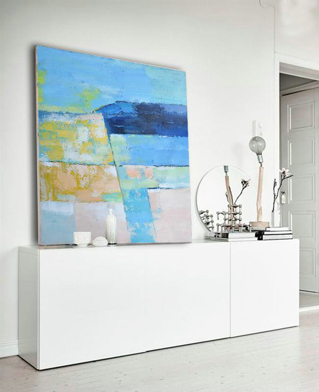 Extra Large Painting,Oversized Contemporary Art,Hand Made Original Art,Blue,Pink,Yellow,Grass Green.Etc