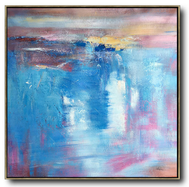 Large Abstract Painting Canvas Art,Oversized Contemporary Art,Hand-Painted Canvas Art,Blue,White,Pink,Purple.Etc