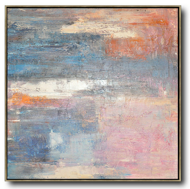 Original Artwork Extra Large Abstract Painting,Oversized Contemporary Art,Big Painting,Pink,Blue,Orange,Beige.Etc