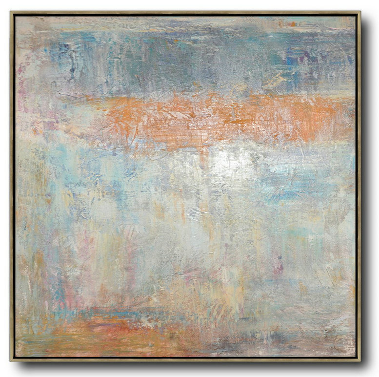 Extra Large Acrylic Painting On Canvas,Oversized Contemporary Art,Hand Paint Large Clean Modern Art,Taupe,White,Orange,Yellow,Grey.Etc