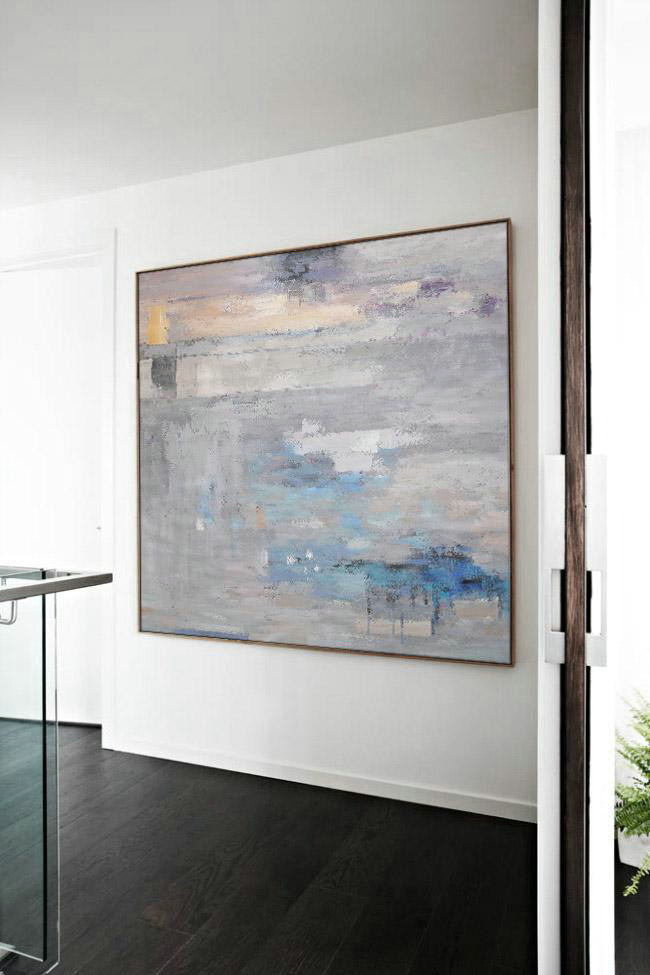 Original Abstract Painting Extra Large Canvas Art,Oversized Contemporary Art,Contemporary Art Wall Decor,Grey,Blue,White.Etc
