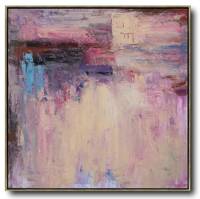 Handmade Extra Large Contemporary Painting,Oversized Contemporary Art,Acrylic Painting Canvas Art,Pink,Nude,Blue,Purple.Etc