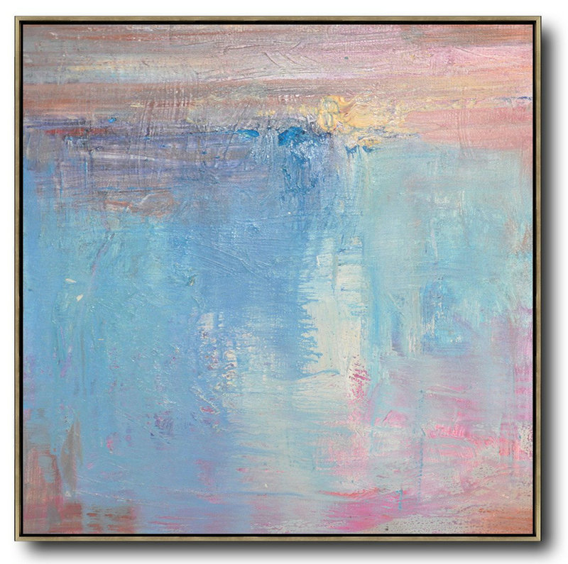 Extra Large Textured Painting On Canvas,Oversized Contemporary Art,Extra Large Canvas Art,Handmade Acrylic Painting,Pink,Blue,White,Taupe.Etc