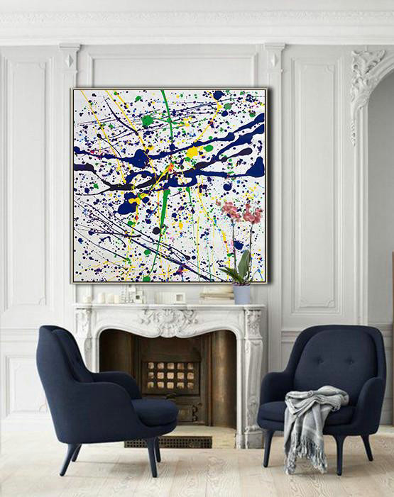 Abstract Painting Extra Large Canvas Art,Oversized Contemporary Art,Hand Painted Aclylic Painting On Canvas,Blue,White,Yellow,Green.Etc