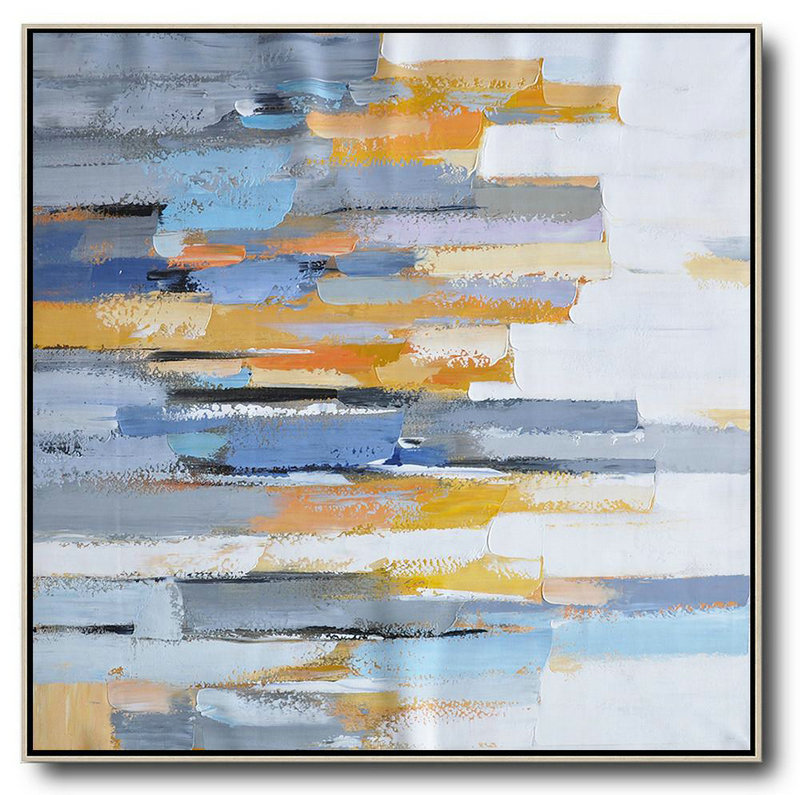 Extra Large Abstract Painting On Canvas,Oversized Contemporary Art,Large Canvas Art,Modern Art Abstract Painting,White,Yellow,Blue,Grey,Orange.Etc