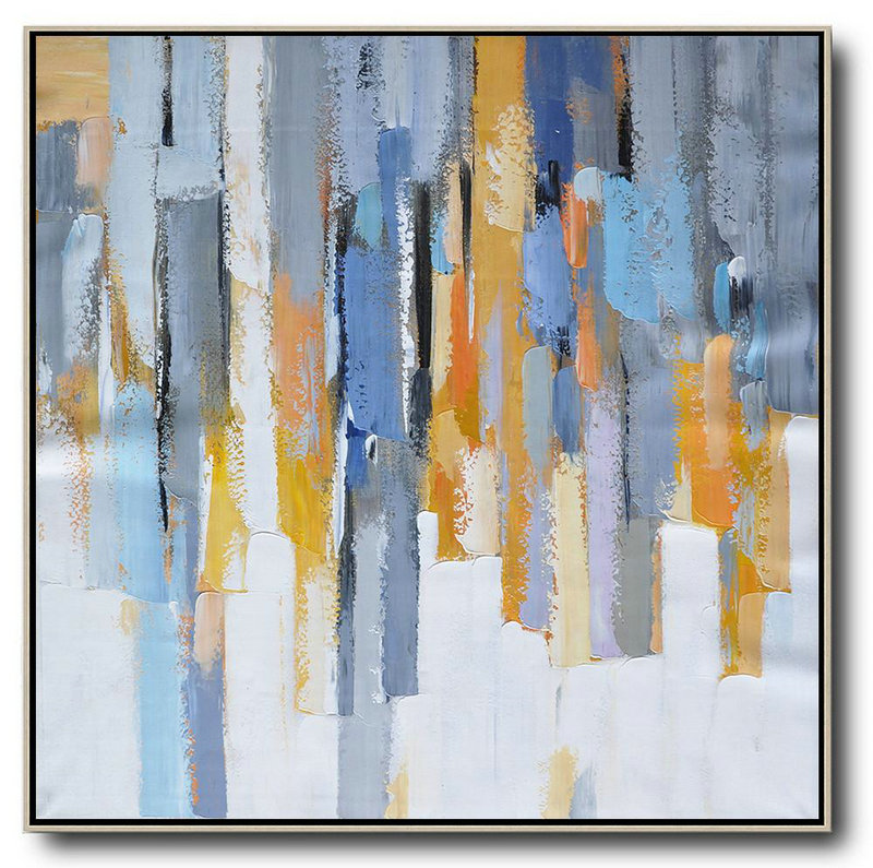 "Extra Large 72"" Acrylic Painting,Oversized Contemporary Art,Original Art Acrylic Painting,White,Yellow,Blue,Grey,Orange.Etc"