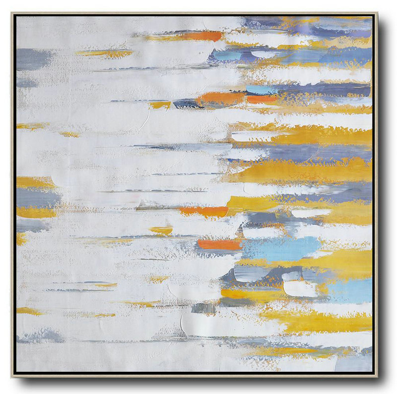 Hand Made Abstract Art,Oversized Contemporary Art,Acrylic Painting On Canvas,White,Yellow,Grey,Orange.Etc