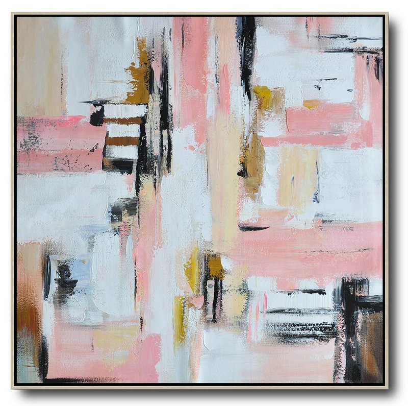 Extra Large Painting,Oversized Contemporary Art,Contemporary Artwork,Pink,White,Yellow,Brown.Etc
