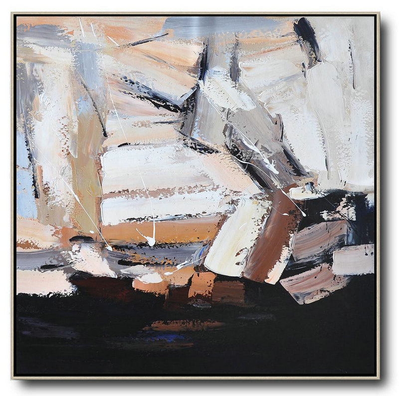 Abstract Painting Extra Large Canvas Art,Oversized Contemporary Art,Contemporary Abstract Painting,Black,Brown,White,Grey.Etc
