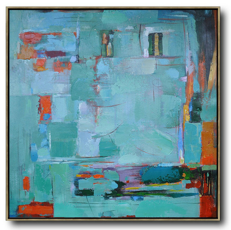 Oversized Canvas Art On Canvas,Oversized Contemporary Art,Hand Painted Acrylic Painting,Green,Blue,Red,Orange.Etc