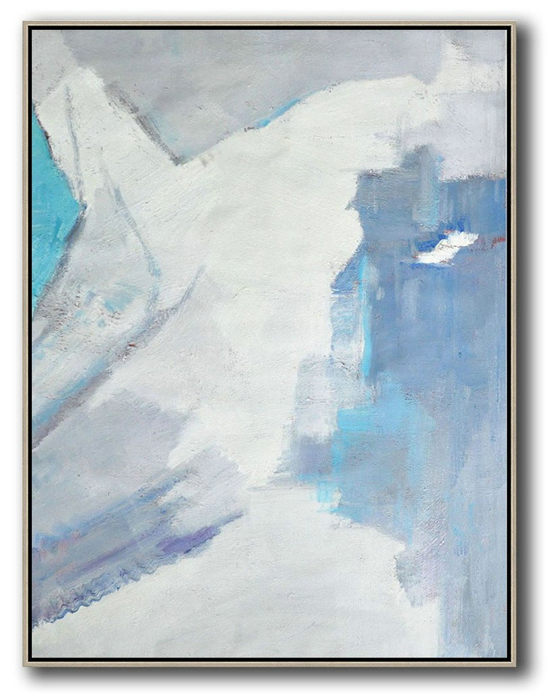 Extra Large Abstract Painting On Canvas,Vertical Palette Knife Contemporary Art,Huge Canvas Art On Canvas,White,Grey,Sky Blue.Etc