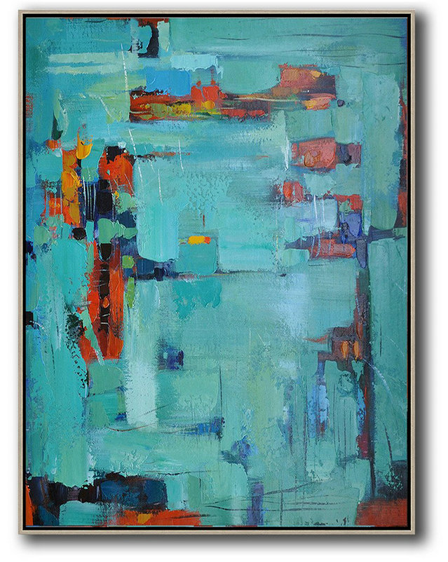 Large Abstract Art Handmade Painting,Vertical Palette Knife Contemporary Art,Modern Abstract Wall Art,Lake Blue,Red,Black.Etc