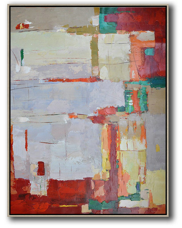 Large Modern Abstract Painting,Vertical Palette Knife Contemporary Art,Giant Canvas Wall Art,Purple Grey,Red,Yellow.Etc