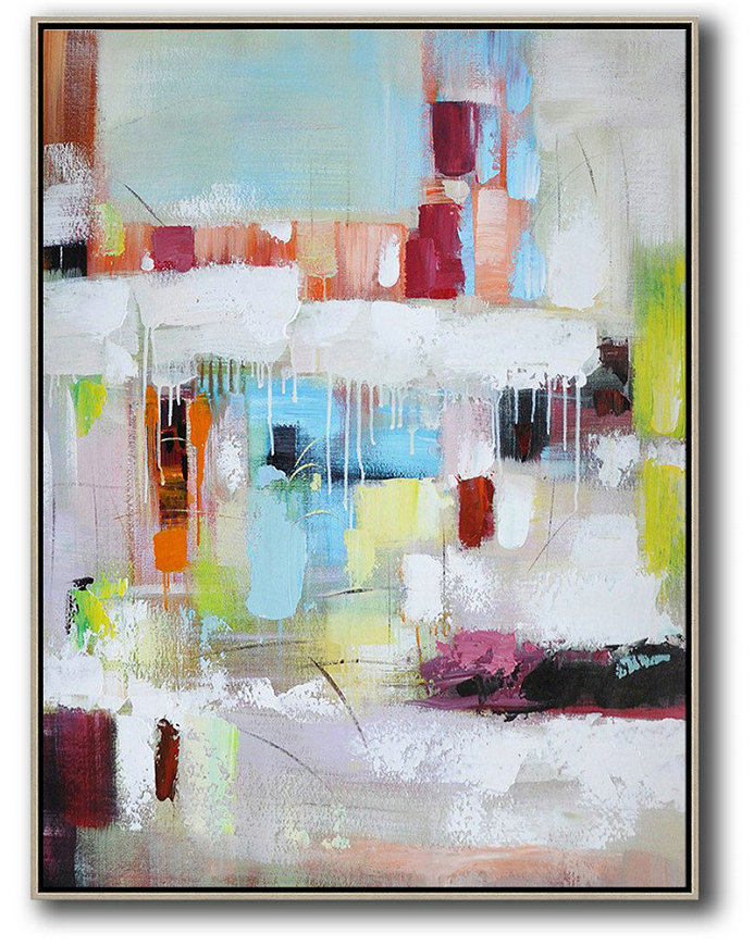 Large Abstract Art,Vertical Palette Knife Contemporary Art,Huge Abstract Canvas Art,Blue,White,Red,Orange,Light Green.Etc