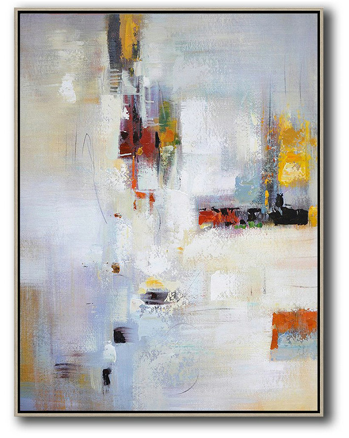 Abstract Painting Extra Large Canvas Art,Vertical Palette Knife Contemporary Art,Acrylic Painting Large Wall Art,Purplish Grey,White,Red,Yellow,Brown.Etc