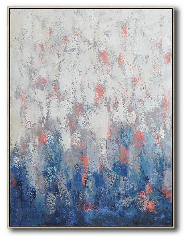 Extra Large Acrylic Painting On Canvas,Vertical Palette Knife Contemporary Art,Oversized Art,Blue,White,Pink,Purple.Etc