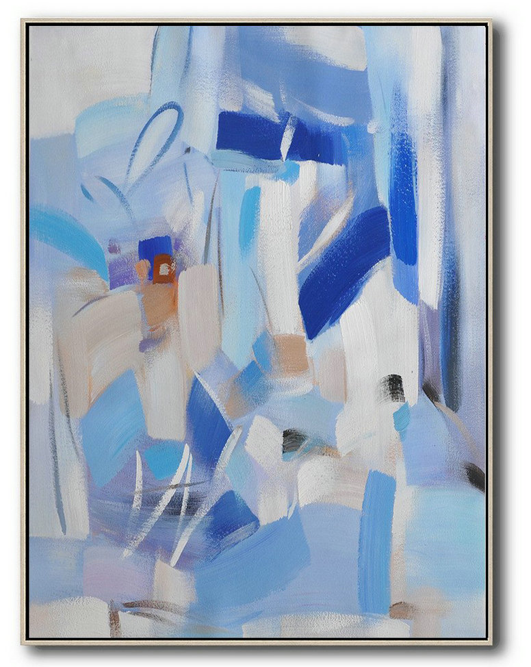 Abstract Painting Extra Large Canvas Art,Vertical Palette Knife Contemporary Art,Modern Wall Decor,Blue,Sky Blue,White,Violet Grey.Etc