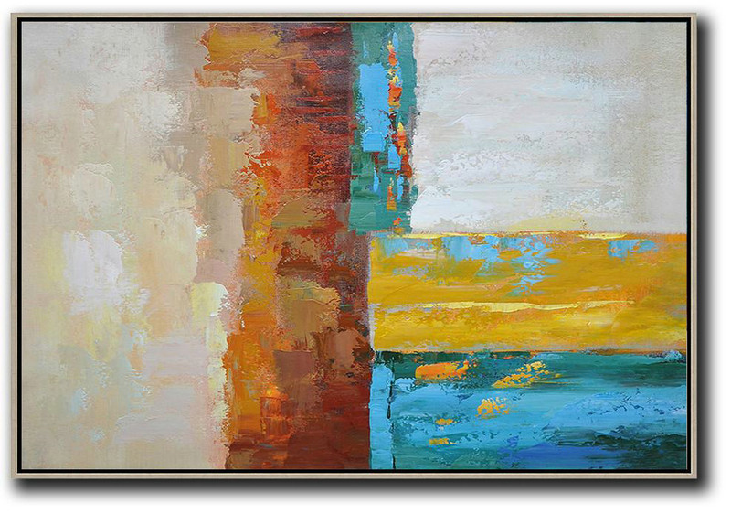 Large Abstract Painting On Canvas,Vertical Palette Knife Contemporary Art,Wall Art Painting,Blue,Red,Yellow,Gray.Etc