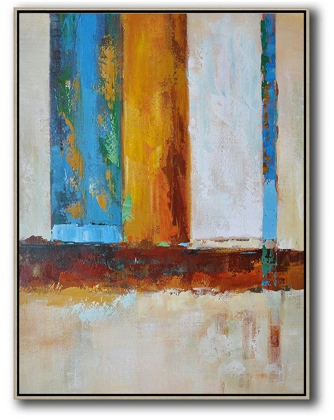 Abstract Painting Extra Large Canvas Art,Vertical Palette Knife Contemporary Art,Modern Wall Decor,Blue,White,Yellow,Red.Etc