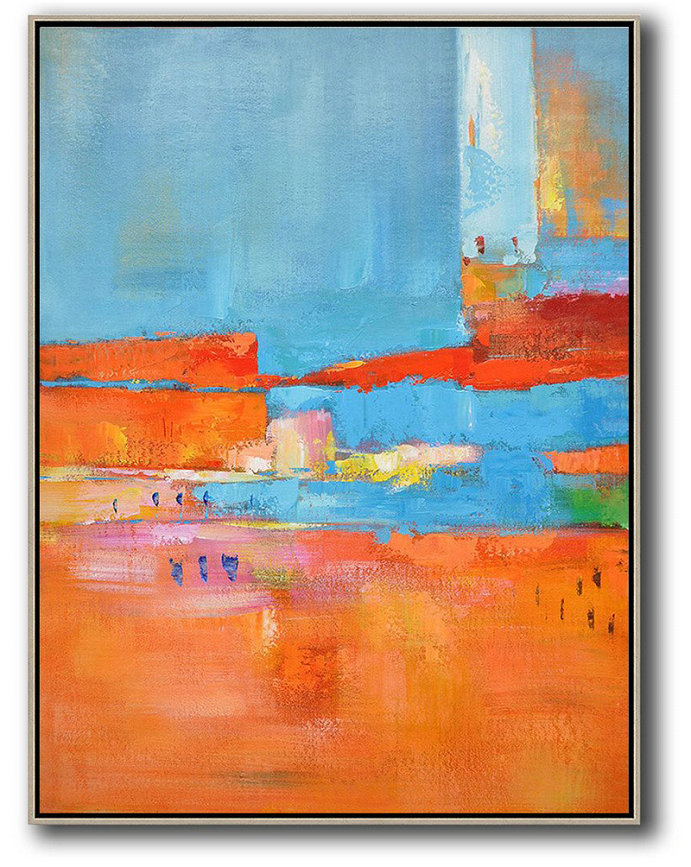 Extra Large Canvas Art,Vertical Palette Knife Contemporary Art,Big Canvas Painting,Red,Orange,Sky Blue,Pink.Etc