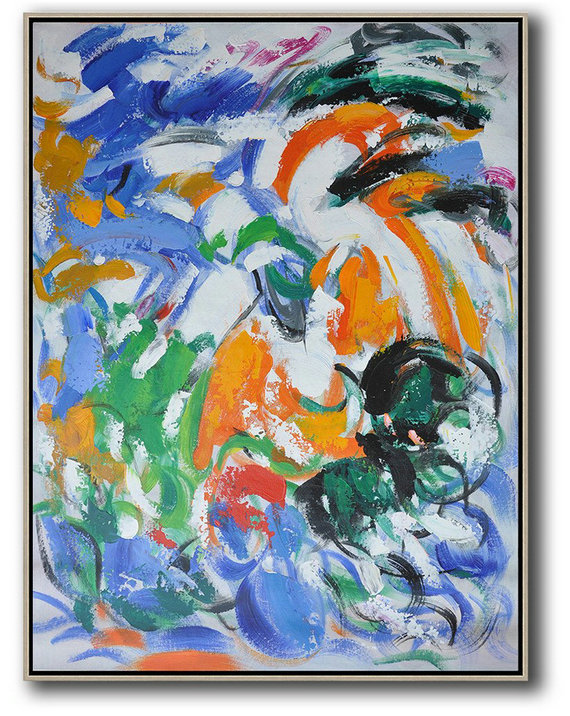 Large Contemporary Art Acrylic Painting,Vertical Palette Knife Contemporary Art,Abstract Painting Modern Art,Blue,White,Orange,Green.Etc