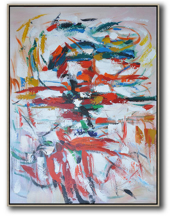 Extra Large Abstract Painting On Canvas,Vertical Palette Knife Contemporary Art,Oversized Custom Canvas Art,Red,White,Blue,Orange.Etc