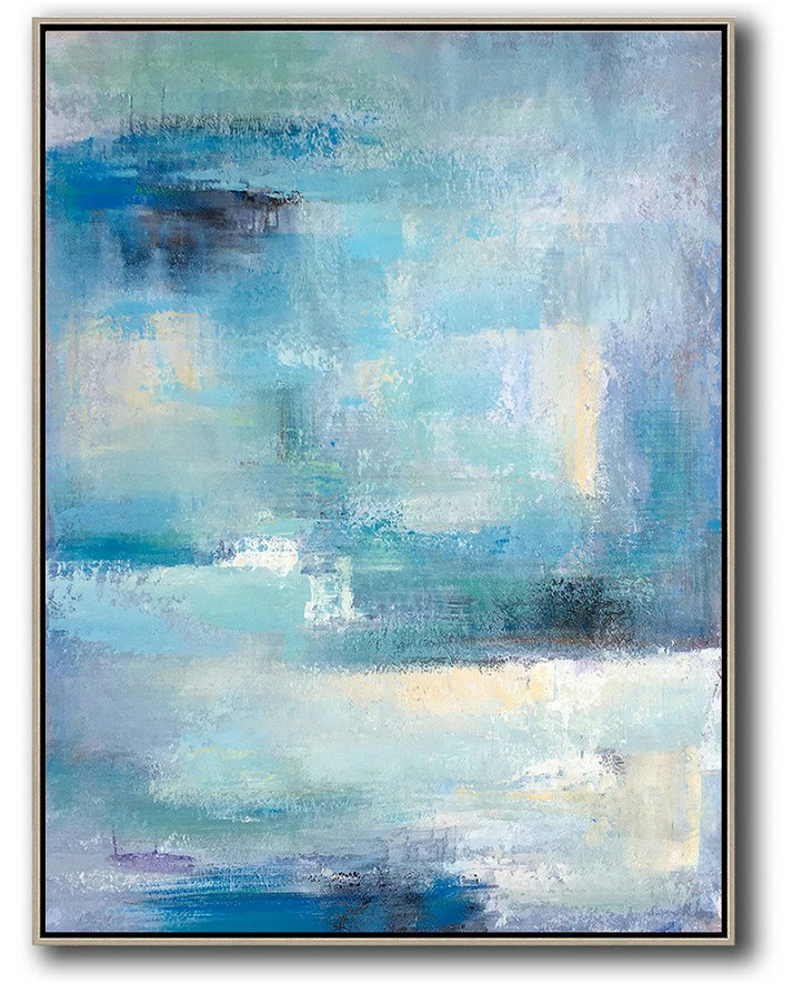 "Extra Large 72"" Acrylic Painting,Vertical Palette Knife Contemporary Art,Large Oil Canvas Art,Blue,White,Grey.Etc"