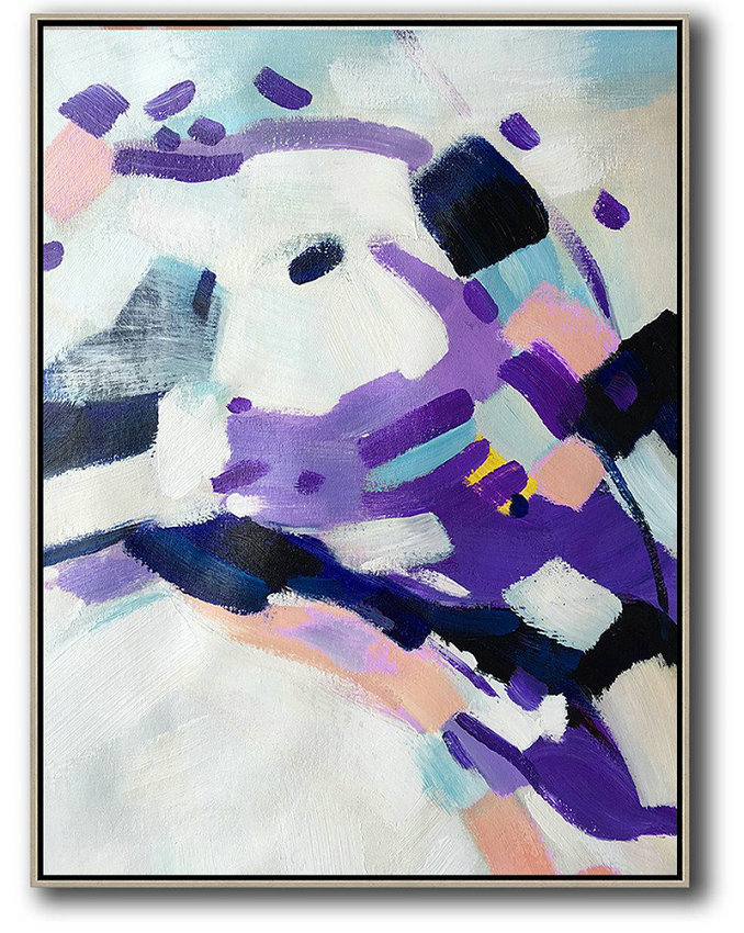 Large Abstract Art Handmade Oil Painting,Vertical Palette Knife Contemporary Art,Hand Painted Original Art,White,Pink,Black,Purple.Etc