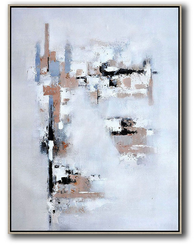Large Abstract Art,Vertical Palette Knife Contemporary Art,Hand Painted Acrylic Painting,Earthy Yellow,White,Grey.Etc