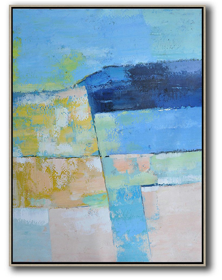 Abstract Painting Extra Large Canvas Art,Vertical Palette Knife Contemporary Art,Handmade Acrylic Painting,Blue,Pink,Yellow.Etc