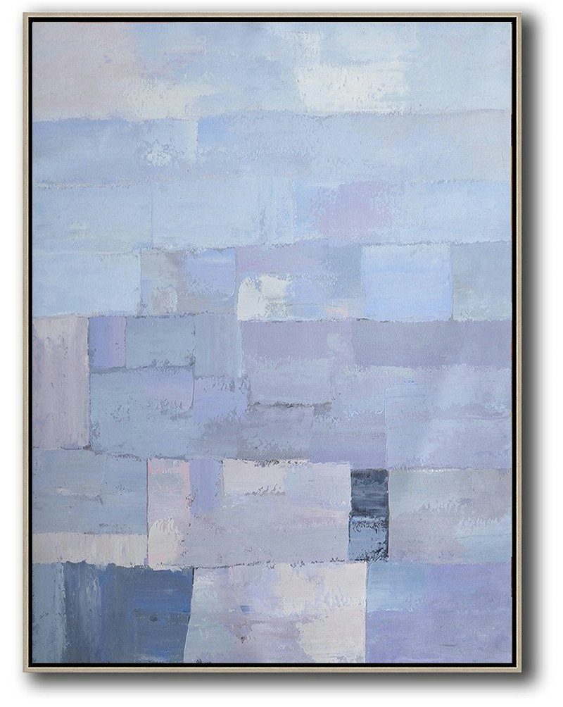 Extra Large Canvas Art,Vertical Palette Knife Contemporary Art,Acrylic Minimailist Painting,Purple,Blue,White.Etc