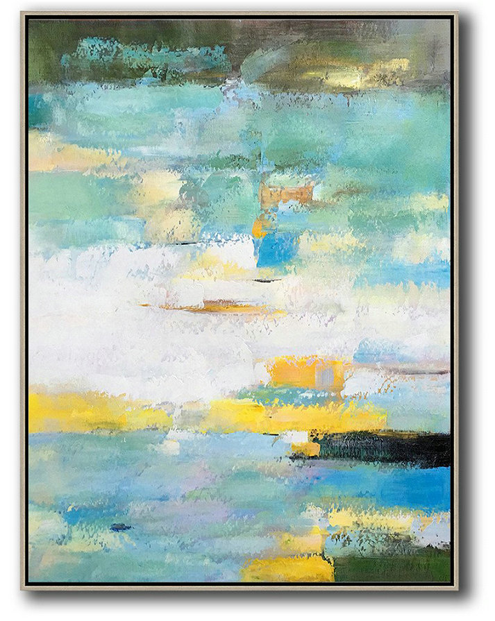 Extra Large Abstract Painting On Canvas,Vertical Palette Knife Contemporary Art,Hand Paint Large Art,Green,White,Yellow,Blue.Etc