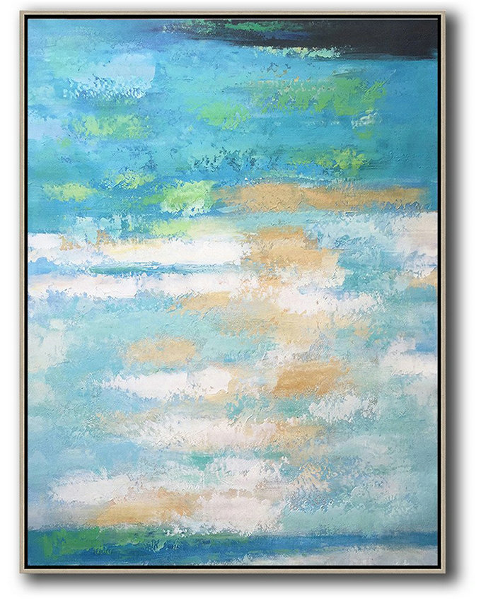 "Extra Large 72"" Acrylic Painting,Vertical Palette Knife Contemporary Art,Original Art,Blue,Yellow,White.Etc"