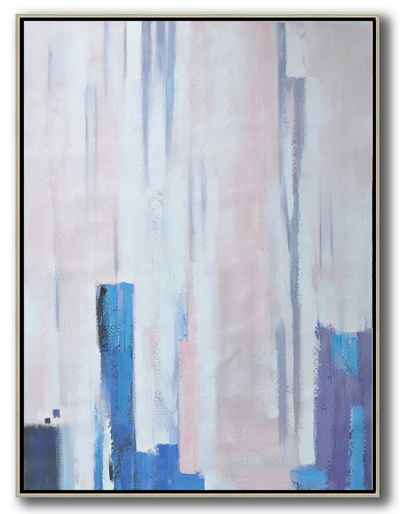 Original Artwork Extra Large Abstract Painting,Vertical Palette Knife Contemporary Art,Oversized Canvas Art,Pink,Blue,Purple,White.Etc